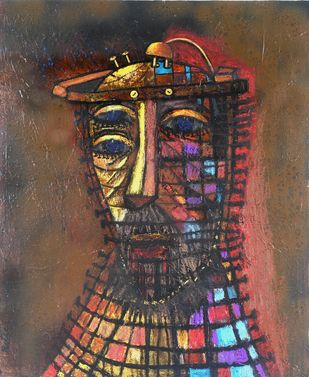 BRAIN FRY 2 by Ritu Dhillon, Expressionism Painting, Mixed Media on Wood, Brown color