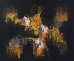 Untitle by DAYAL P. GORE, Abstract Painting, Acrylic on Canvas, Gray color
