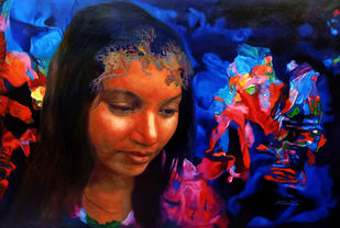 Colour of the Universe XVI by Sumitava Maity, Realism Painting, Oil on Canvas, Blue color