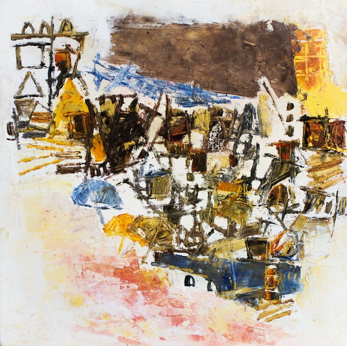 Banaras 13-2018 by Anand Narain, Abstract Painting, Oil on Canvas, Brown color