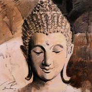 Buddha 7 by Sulakshana Dharmadhikari, Expressionism Painting, Acrylic on Canvas, Brown color