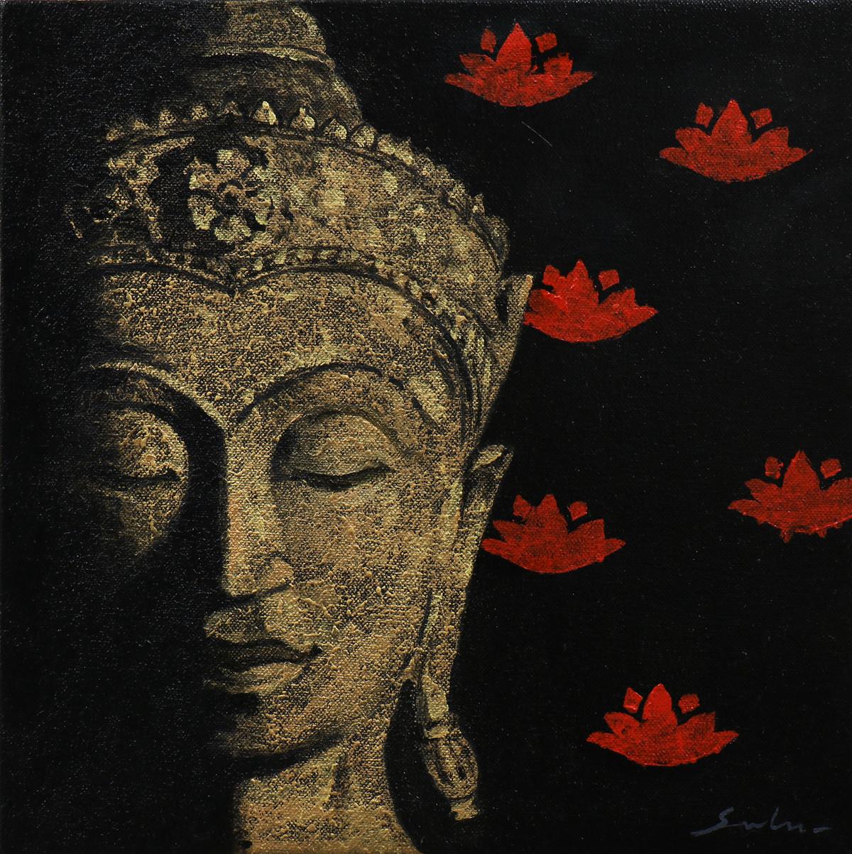 Buddha 4 by Sulakshana Dharmadhikari, Decorative Painting, Acrylic on Canvas, Black color