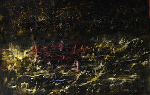 Untitled-I by Ishwar Gurung, Expressionism Painting, Acrylic on Paper, Black color