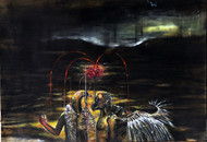 Archangle by Ishwar Gurung, Expressionism Painting, Acrylic on Paper, Black color