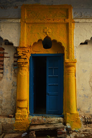 The Door by Tulika Sahu, Image Photography, Digital Print on Canvas, Brown color