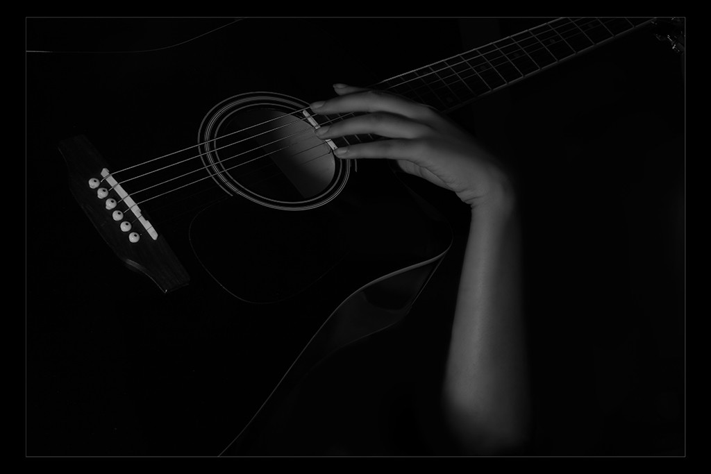 Hand & Guitar by Tulika Sahu, Image Photography, Digital Print on Canvas, Black color