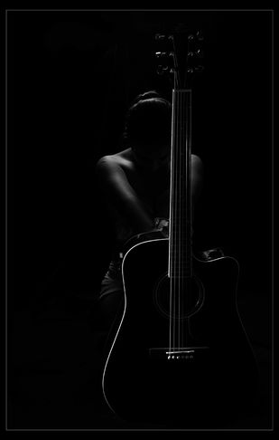 Lady with Guitar by Tulika Sahu, Image Photography, Digital Print on Canvas, Black color