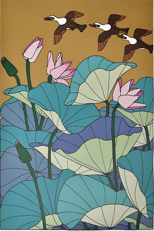 Untitled by A Ramachandran, Expressionism Printmaking, Serigraph on Paper, Green color
