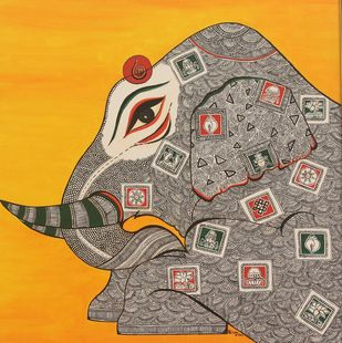 STRENGTH by PRIYA PATIL, Traditional Painting, Acrylic on Canvas, Brown color