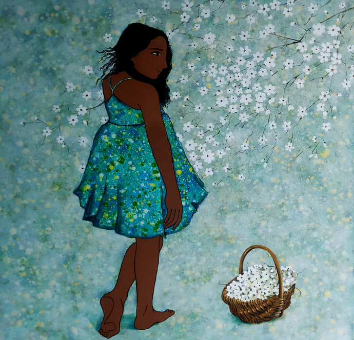 childhood memories by Monica Ghule, Expressionism Painting, Acrylic on Canvas, Green color