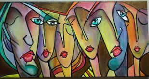 Faces by Richa Sikaria, Decorative Painting, Acrylic on Canvas, Brown color