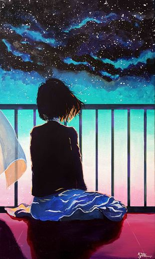 Lonesome by Shrey Sukhee, Pop Art Painting, Acrylic on Canvas, Blue color