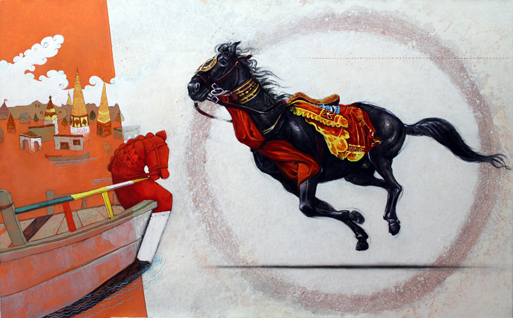 the horse of god by Ramchandra Kharatmal, Fantasy Painting, Acrylic & Graphite on Canvas, Gray color