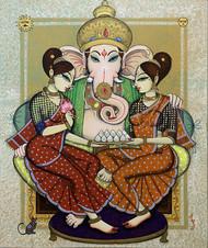 ganesha with riddi siddi by Varsha Kharatmal, Traditional Painting, Acrylic on Canvas, Beige color