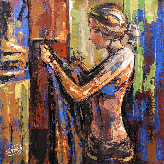 Before The Bath ( hostel days) by gurdish pannu, Expressionism Painting, Acrylic on Canvas, Brown color