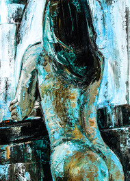 SUNDAY MORNING - Before The Bath ( hostel days) by gurdish pannu, Expressionism Painting, Acrylic on Canvas, Green color