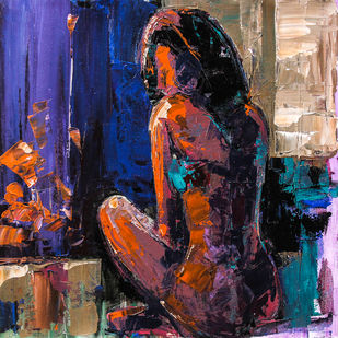 Before The Evening Bath (hostel days) by gurdish pannu, Expressionism Painting, Acrylic on Canvas, Blue color