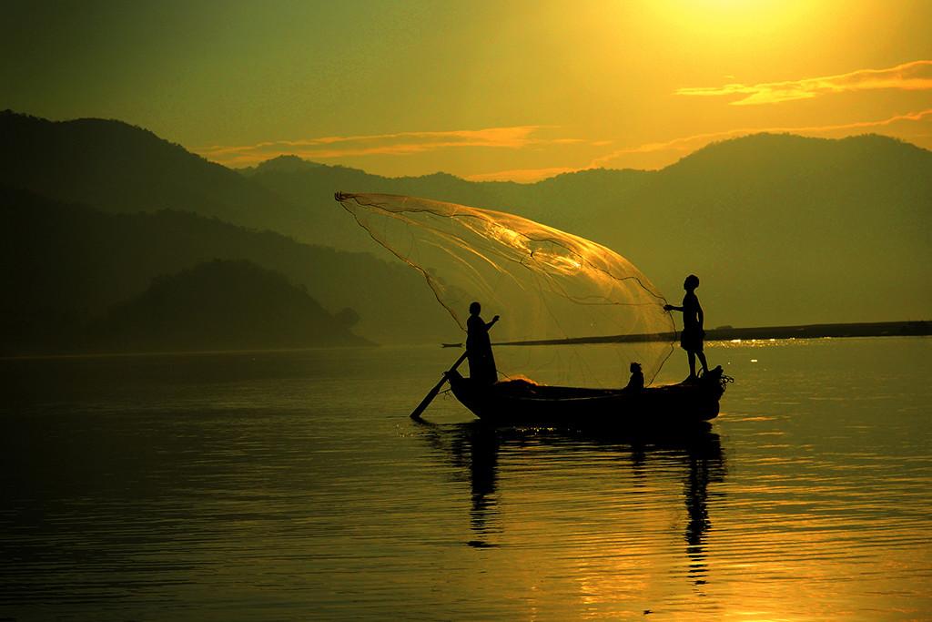 Fisherman by Tulika Sahu, Image Photography, Digital Print on Canvas, Green color