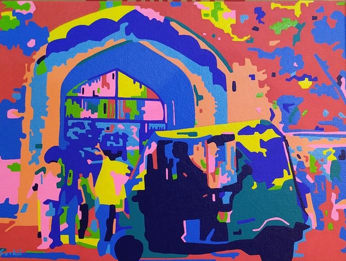 Metropolitan - 3 by Suchit Sahni, Pop Art Painting, Acrylic on Canvas, Blue color