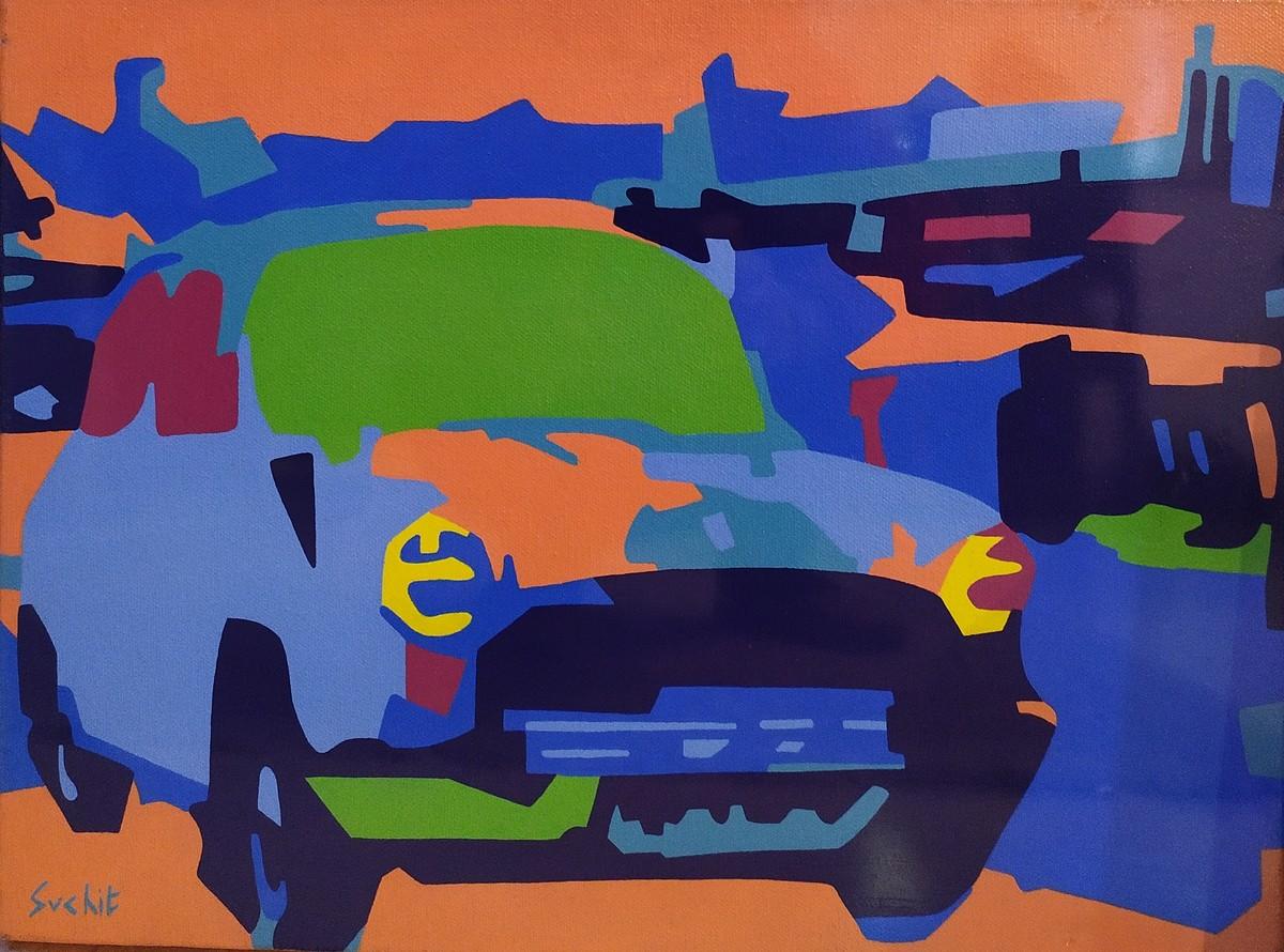 Metropolitan(2) by Suchit Sahni, Pop Art Painting, Acrylic on Canvas, Blue color