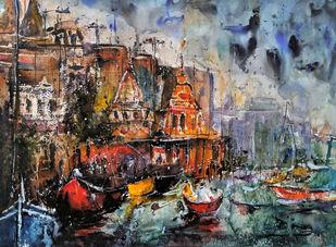 Varanasi Calling... Digital Print by Suvarna Dheringe,Expressionism