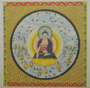 Shakyamuni (Gautam Buddha) by Deepika Kapur, Expressionism Painting, Color Pencil on Paper, Beige color