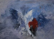 Wings by Rinden, Abstract Painting, Acrylic on Paper, Blue color
