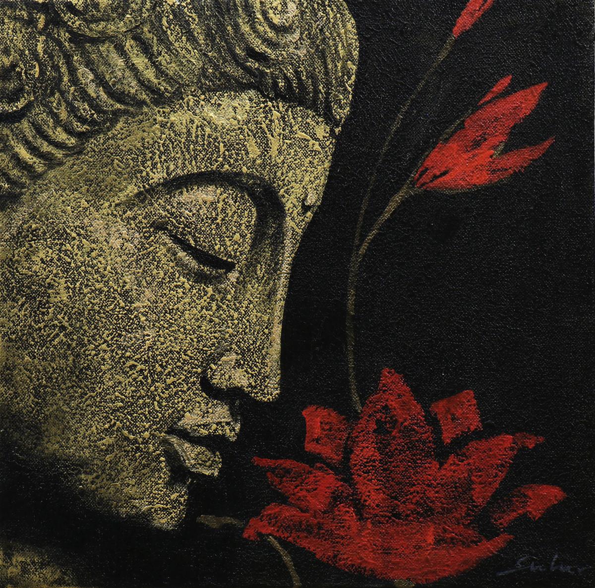 Buddha 3 by Sulakshana Dharmadhikari, Expressionism Painting, Acrylic on Canvas, Brown color