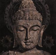 Buddha 2 by Sulakshana Dharmadhikari, Expressionism Painting, Acrylic on Canvas, Brown color