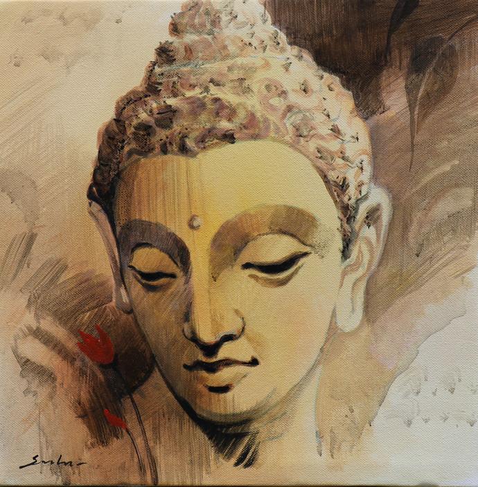 Buddha 6 by Sulakshana Dharmadhikari, Expressionism Painting, Acrylic on Canvas, Brown color