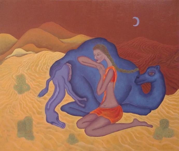 Love Night 2 by Savita Ram Tathe, Fantasy Painting, Acrylic on Canvas, Brown color