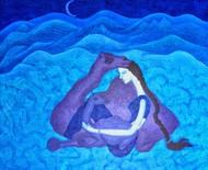 Love Night 3 by Savita Ram Tathe, Fantasy Painting, Acrylic on Canvas, Blue color