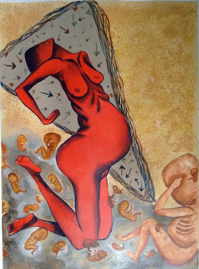 Motherhood by Savita Ram Tathe, Conceptual Painting, Acrylic on Paper, Brown color