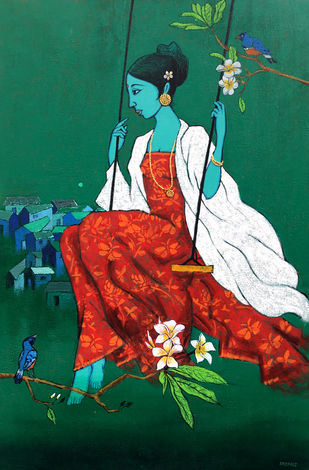 Girl with Bird by Deepali S, Expressionism Painting, Acrylic on Canvas, Green color