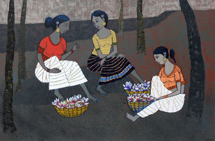 Friends by Deepali S, Expressionism Painting, Acrylic on Canvas, Gray color