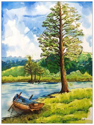 Landscape Digital Print by Rajmohan,Impressionism