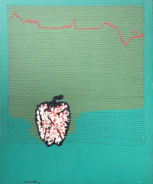 Untitled by Samir Aich, Minimalism Painting, Acrylic on Canvas, Cyan color