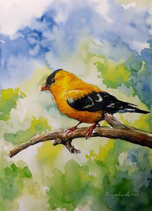 Yellow Bird Digital Print by Rajmohan,Impressionism