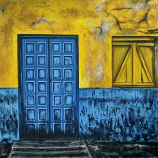Sound of Silence by Pranita Avhale, Expressionism Painting, Acrylic on Canvas, Blue color