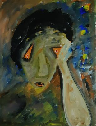Thinking by Debajyoti Roy, Expressionism Painting, Acrylic on Canvas, Green color