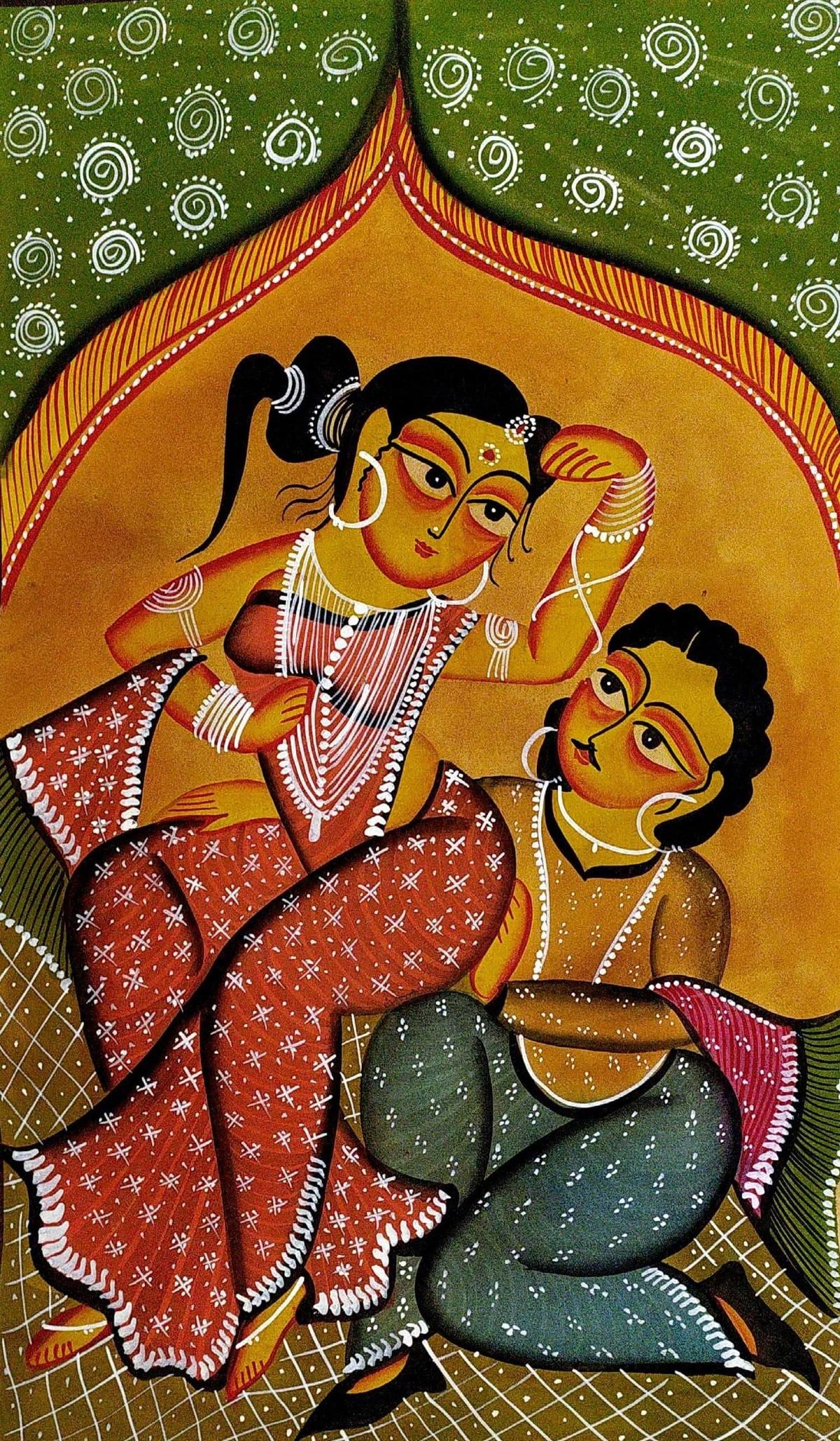 Babu & Bibi - Intimate Moments by Swarna Chitrakar, Folk Painting, Natural colours on paper, Brown color