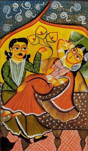 Babu & Bibi - Romancing by Swarna Chitrakar, Folk Painting, Natural colours on paper, Brown color