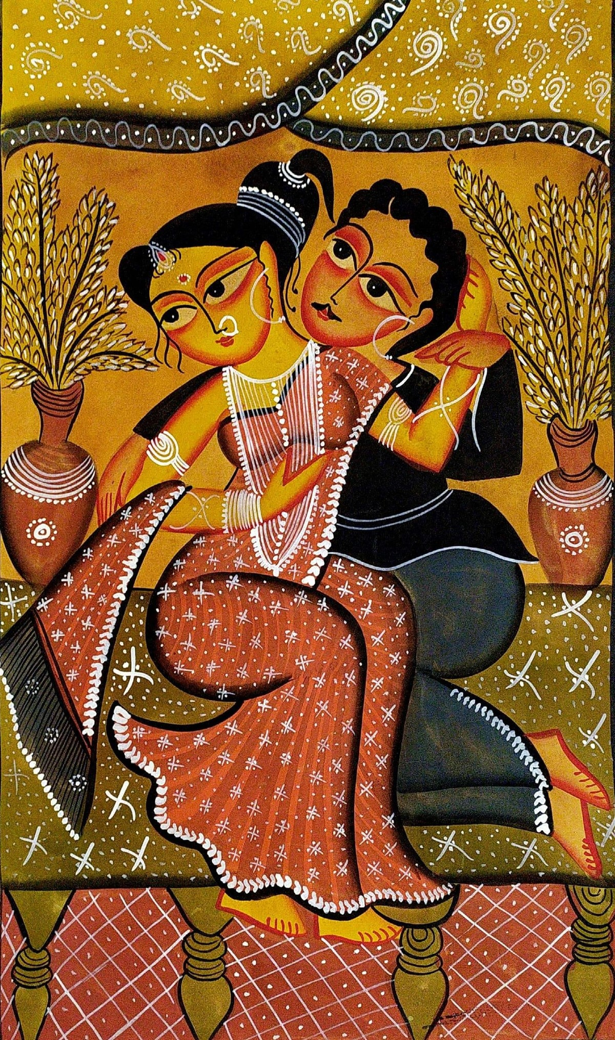 Babu & Bibi - Babu Embracing Bibi by Swarna Chitrakar, Folk Painting, Natural colours on paper, Brown color