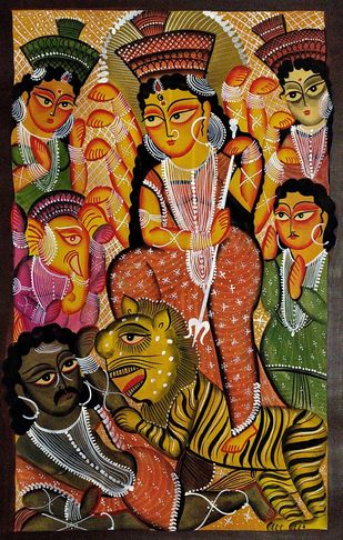 "Goddess Durga - ""Mahisasurmardini"" by Swarna Chitrakar, Folk Painting, Natural colours on paper, Brown color"