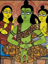 Ram-Lakshman-Sita in Panchwati by Bahadur Chitrakar, Folk Painting, Natural colours on paper, Brown color