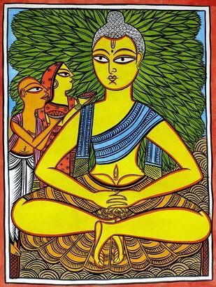 Meditating Buddha by Bahadur Chitrakar, Folk Painting, Natural colours on paper, Green color