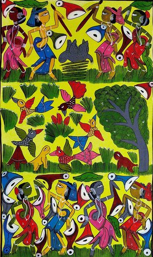 Festivities in Santhal Tribe by Suman Chitrakar, Folk Painting, Natural colours on paper, Green color