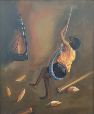 My Old Memory by DAYAL P. GORE, Expressionism Painting, Acrylic on Canvas,