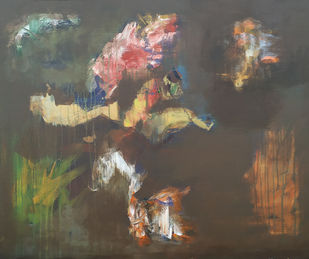 Abstrac by DAYAL P. GORE, Abstract Painting, Acrylic on Canvas,