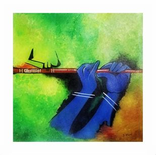 ABSTRACT ART KRISHNA by PARESH MORE, Decorative Painting, Acrylic on Canvas, Green color